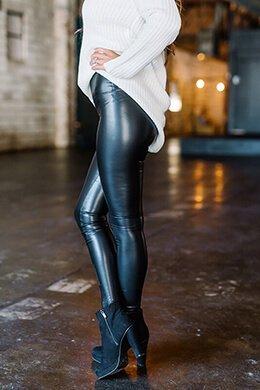 high waist leather leggings