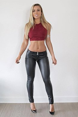 push-up faux leather leggings