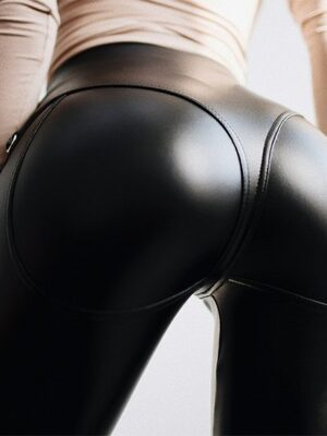 faux leather thong high waist leggings zipper shiny wet look pvc latex