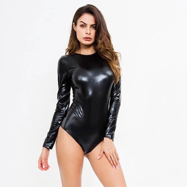 crazy night bodysuit shiny and wet look lycra