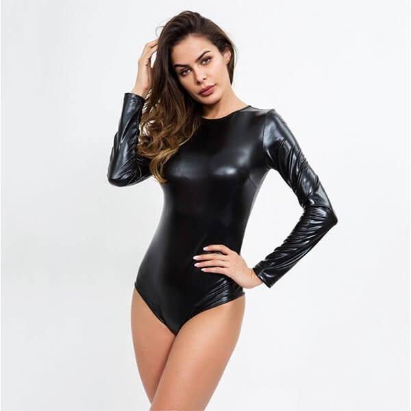 vegan leather shiny bodysuit