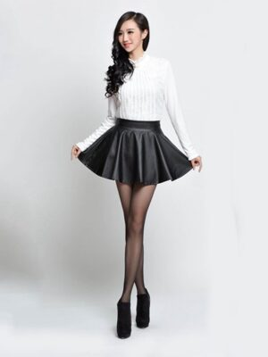 dark mood shiny skater mini skirt wetlook satin