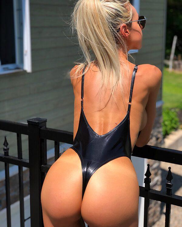 shiny thong swimsuit