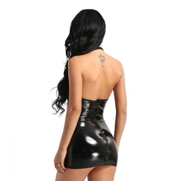 take me home faux leather dress