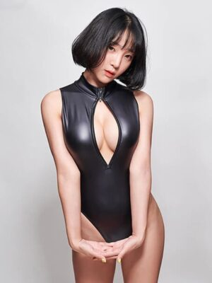what you see leather bodysuit with zipper