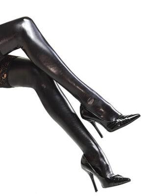 glam girl leather stockings black