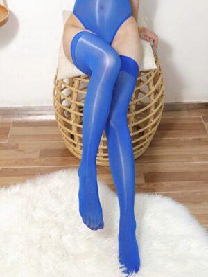 Seductive lady Shiny Nylon Stockings