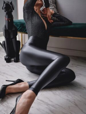 Glam Girl Glossy Spandex High Waist Leggings