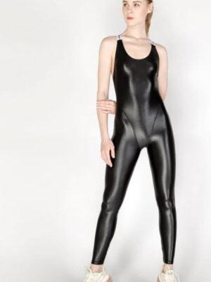 Shiny Spandex Thong Jumpsuit