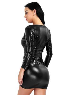 Mamba Leather V-neck Long sleeve Dress