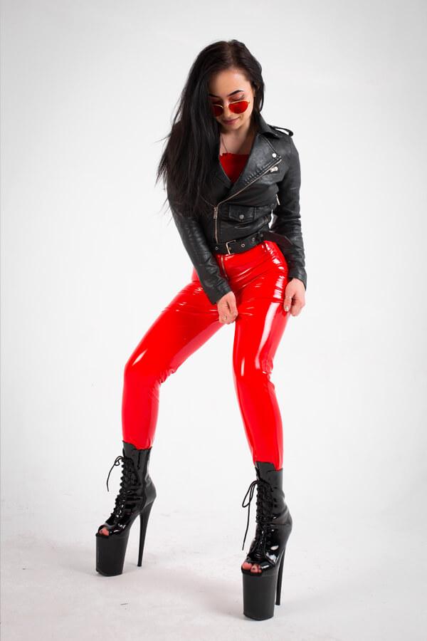 latex leggings with zipper red