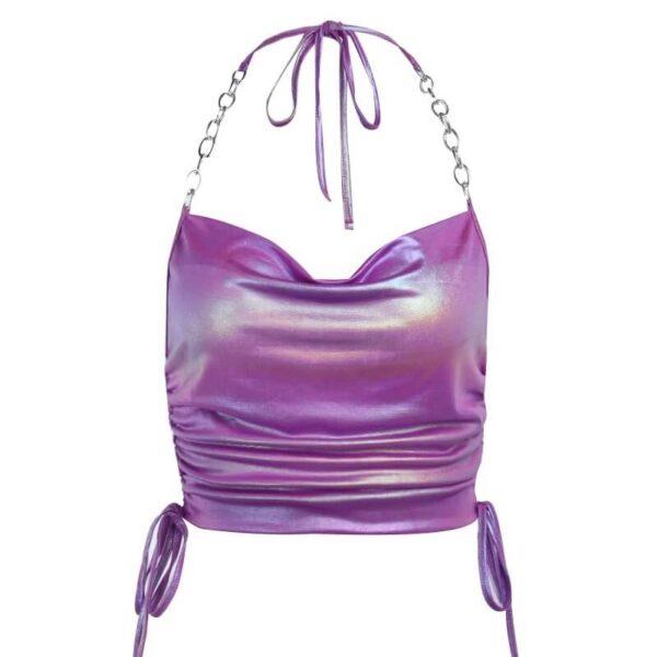 shiny purple crop top