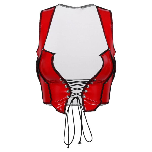 shiny wetlook top leather red