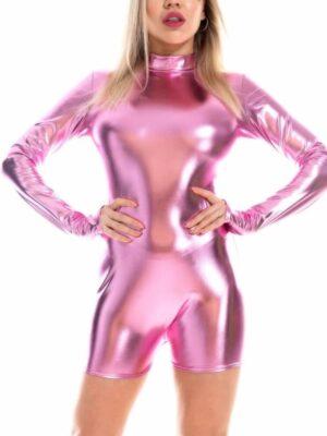 shiny wetlook jumpsuit catsuit pink