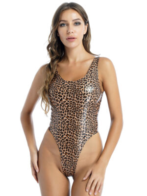 out to hunt shiny leopard bodysuit swimsuit
