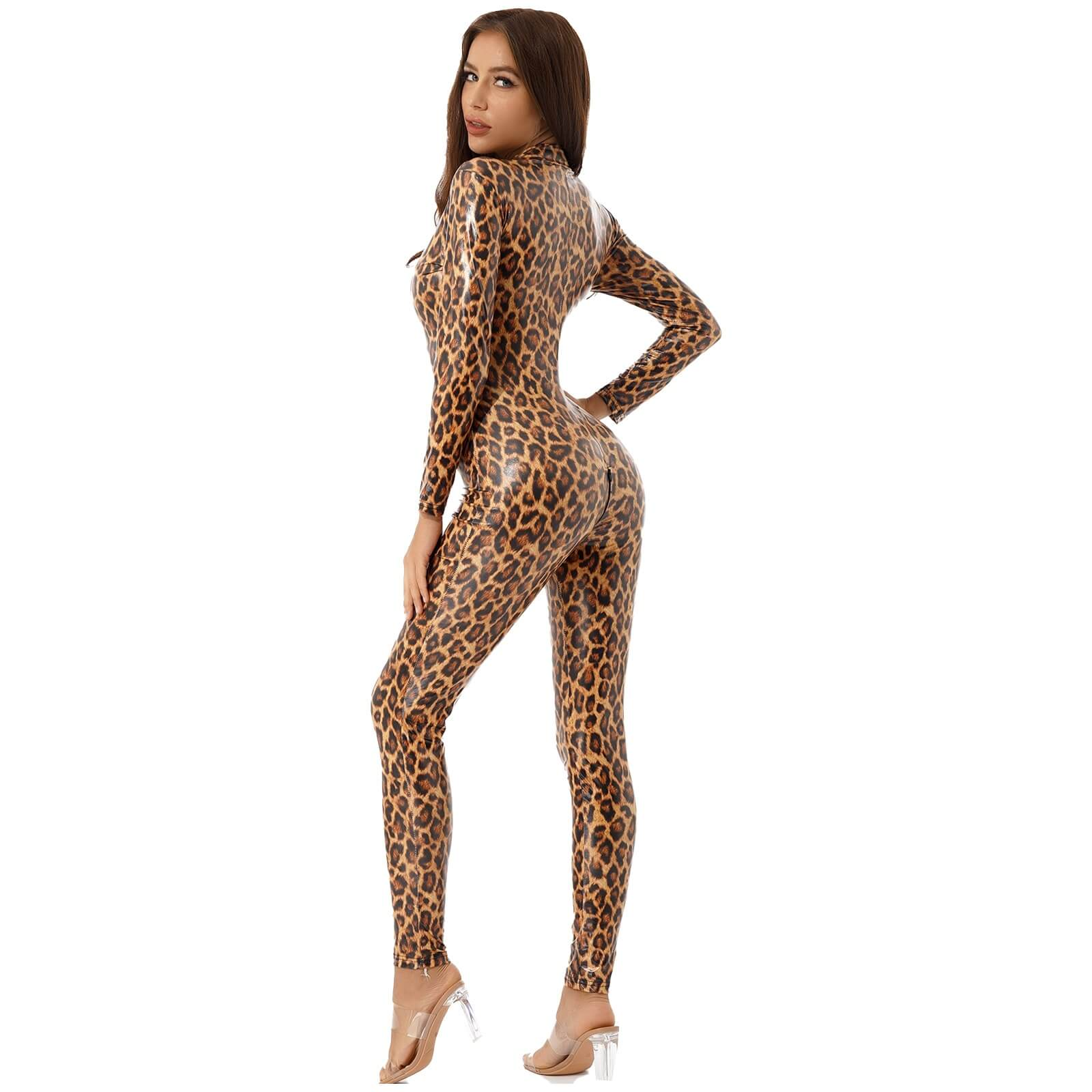 out to hunt shiny leopard catsuit